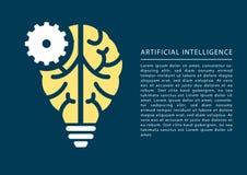 Concepto del aprendizaje de máquina y de la inteligencia artificial con el icono del cerebro y de la bombilla