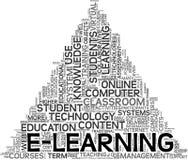 Concepto del aprendizaje electrónico en nube de la etiqueta libre illustration
