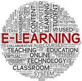 Concepto del aprendizaje electrónico en nube de la etiqueta Imágenes de archivo libres de regalías