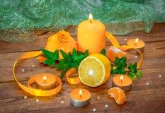 Concepto del aroma de la fruta cítrica y de las hierbas Foto de archivo libre de regalías