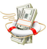 Concepto del asunto - dinero del rescate en crisis Foto de archivo libre de regalías