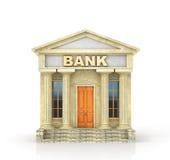 Concepto del asunto Edificio de banco aislado en el blanco stock de ilustración
