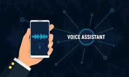 Concepto del ayudante personal y del reconocimiento vocal La mano sostiene el teléfono con tecnología inteligente de la voz stock de ilustración