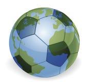 Concepto del balón de fútbol del globo del mundo stock de ilustración