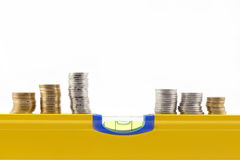 Concepto del balance del dinero Fotos de archivo libres de regalías