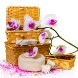 Concepto del balneario Orquídea de la ramita, cajas con la sal y otros accesorios Fotografía de archivo libre de regalías