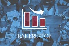 Concepto del Barchart del negocio de la disminución de la recesión Fotografía de archivo