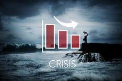 Concepto del Barchart del negocio de la disminución de la recesión Foto de archivo