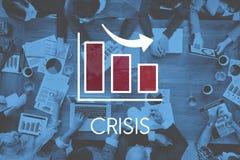 Concepto del Barchart del negocio de la disminución de la recesión Imagen de archivo libre de regalías