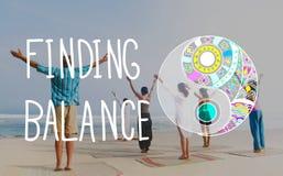 Concepto del bienestar de Yin-Yang de la balanza del hallazgo fotos de archivo libres de regalías