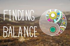 Concepto del bienestar de Yin-Yang de la balanza del hallazgo fotografía de archivo