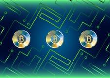 Concepto del bitcoin del oro de fondo futurista con las Líneas Verdes Imagen de archivo