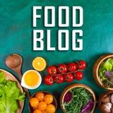 Concepto del blog de la comida Verduras para el abastecimiento dietético en verde Fotos de archivo