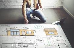 Concepto del bosquejo del modelo del plan de piso de la disposición de la casa Imágenes de archivo libres de regalías