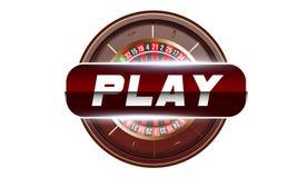 Concepto del botón de reproducción del casino aislado en el fondo blanco Ejemplo en línea del casino del póker Desig de juego del stock de ilustración