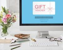 Concepto del código del promo del vale de regalo fotos de archivo libres de regalías