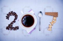 Concepto 2017 del café Imagen de archivo libre de regalías