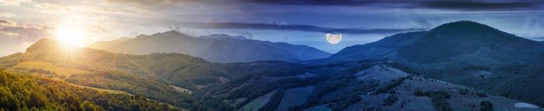Concepto del cambio del tiempo sobre el panorama montañoso foto de archivo libre de regalías