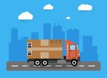 Concepto del camión de reparto stock de ilustración