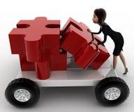 concepto del camión del pedazo del rompecabezas del empuje de la mujer 3d a mano Foto de archivo
