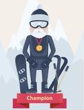 Concepto del campeón de los deportes de invierno del hombre mayor Fotografía de archivo