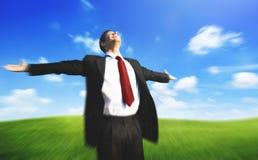 Concepto del campo de Business Success Happiness del hombre de negocios Foto de archivo