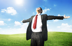Concepto del campo de Business Success Happiness del hombre de negocios Fotografía de archivo