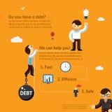 Concepto del cartel de la deuda Foto de archivo libre de regalías