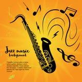 Concepto del cartel de la música del saxofón Fotos de archivo