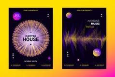 Concepto del cartel de la música de la onda Aviador sano electrónico stock de ilustración