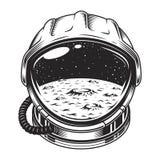 Concepto del casco de espacio del vintage stock de ilustración