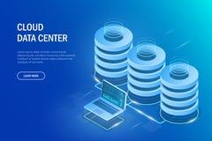 Concepto del centro de datos Almacenamiento de la nube, transferencia de datos Tecnolog?a de transmisi?n de datos Ejemplo del vec ilustración del vector