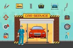 Concepto del centro de servicio de reparación del coche con los elementos de los diagnósticos y el hombre planos de adaptación de Imágenes de archivo libres de regalías
