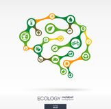 Concepto del cerebro con eco, tierra, verde, el reciclaje, la naturaleza y el icono casero Imágenes de archivo libres de regalías