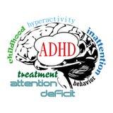Concepto del cerebro de ADHD Imágenes de archivo libres de regalías