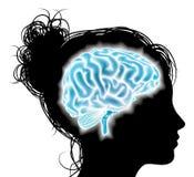 Concepto del cerebro de la mujer que brilla intensamente Foto de archivo libre de regalías