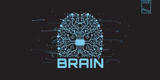 Concepto del cerebro futurista con el texto Imagen de archivo