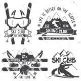 Concepto del club del esquí stock de ilustración