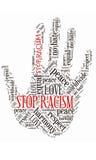 Concepto del collage de la palabra de la mano para el antirracismo Fotografía de archivo