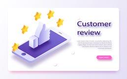 Concepto del comentario del cliente Reacción, reputación y concepto de la calidad Dé señalar, finger que señala al grado de cinco stock de ilustración