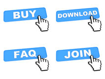Concepto del comercio electrónico - botones del web con el cursor de la mano Foto de archivo