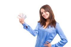 Concepto del comercio electrónico - compras de la mujer Fotografía de archivo libre de regalías