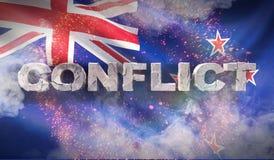 Concepto del conflicto en Nueva Zelanda Textura altamente detallada agitada de la tela ilustración 3D stock de ilustración