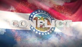 Concepto del conflicto Estado de la bandera de Missouri Indicadores de los estados de los E ilustración 3D ilustración del vector