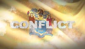 Concepto del conflicto Estado de la bandera de New Jersey Indicadores de los estados de los E ilustración 3D ilustración del vector