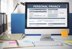 Concepto del contrato de la forma de la privacidad personal imagenes de archivo