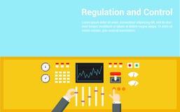 Concepto del control y de la regulación El panel actuado manos - ejemplo plano Foto de archivo