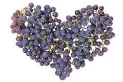 Concepto del corazón de las uvas de la vid Fotografía de archivo