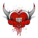 Concepto del corazón del código de barras con sangre Foto de archivo