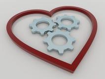 Concepto del corazón y del fondo de los engranajes ilustración del vector